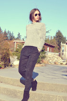 suede booties Aldo boots - grey wool H&M sweater - Aritzia pants