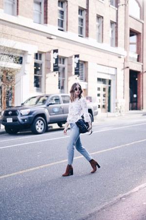 lace Zara top - Aritzia jeans - PROENZA SCHOULER bag