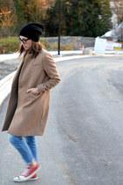camel wool menswear H&M coat - sky blue Zara jeans