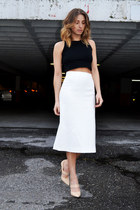 black cropped Zara top - eggshell midi Zara skirt - tan Forever 21 pumps