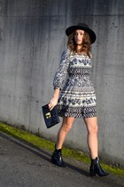 patent leather Zara boots - floral print Forever 21 dress - asos hat