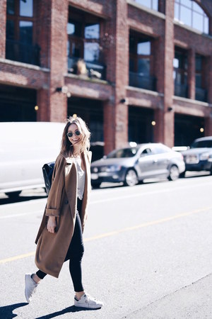 camel Max Mara coat - backpack Aritzia bag - Adidas sneakers