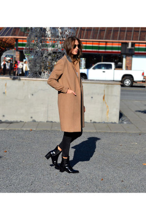 tan H&M coat - black patent booties Zara boots