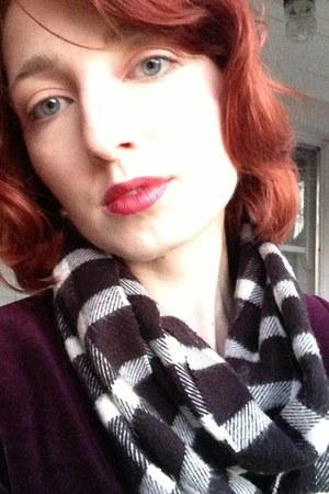 purple velvet J Crew blazer - Macys scarf
