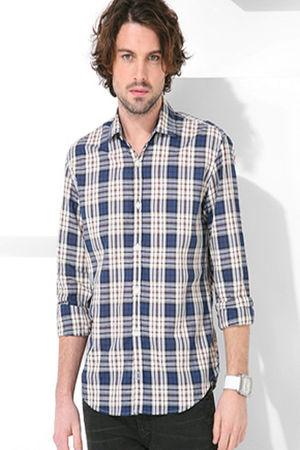blue Hartford Tartan Check Shirt shirt