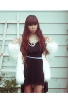 faux fur jacket - chiffon Supre dress