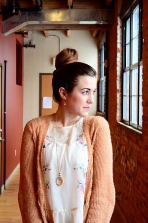 lauren conrad kohls cardigan - denim Forever 21 jeans - floral Target blouse