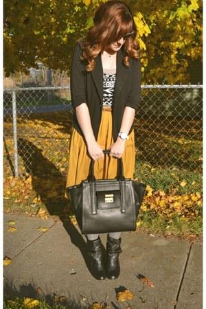 mustard Forever 21 skirt - booties Steve Madden boots - tuxedo TJ Maxx blazer