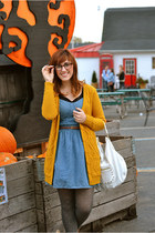 mustard Forever 21 sweater - polka dot JCPenney tights