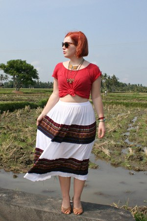 red Zara t-shirt - white Street Vendor skirt - light brown cotton on flats