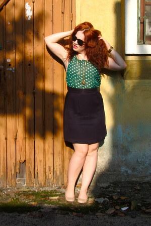 green Forever 21 blouse - neutral dr scholls flats - navy Goodwill skirt