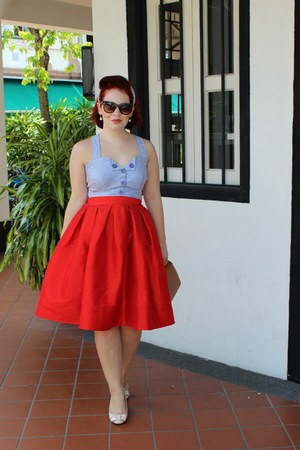 red Choies skirt - sky blue thrifted shirt