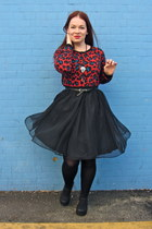 ruby red animal print clothing swap sweater - black tulle thrifted vintage skirt
