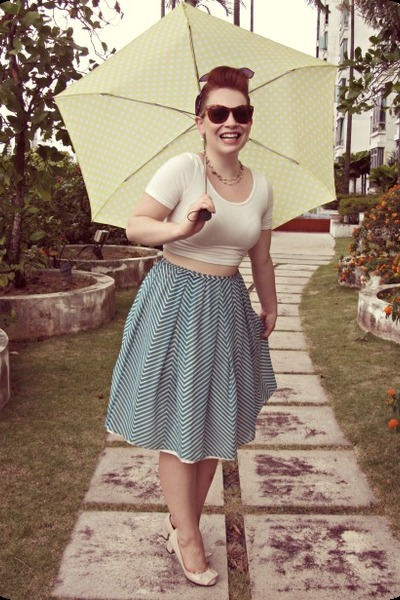 white crop modcloth top - teal thrifted skirt - peach thrifted heels