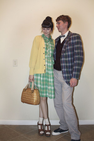 chartreuse plaid merona dress - bronze thrifted vintage purse - cream knit J Cre