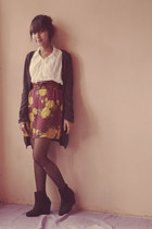 Monk In Shoes wedges - Psr senen skirt - cardigan - Psr senen belt