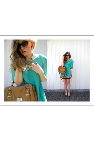 brown Aldo bag - turquoise blue lulus dress