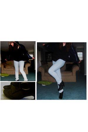 blue H&M jeans - blue American Eagle jacket - black Steve Madden boots - black T