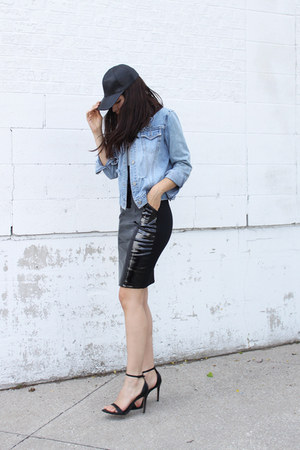 pvc H&M skirt - denim vintage jacket - Zara sandals