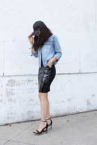 pvc H&M skirt - denim vintage jacket - Zara sandals
