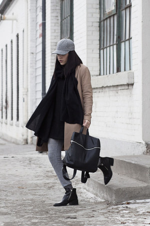 wool Theory coat - zipper Zara boots - baseball American Apparel hat