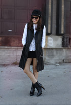 leather Zara boots - felt H&M hat - leather danier jacket