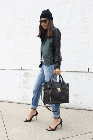 boyfriend H&M jeans - danier jacket - mackenzie danier bag
