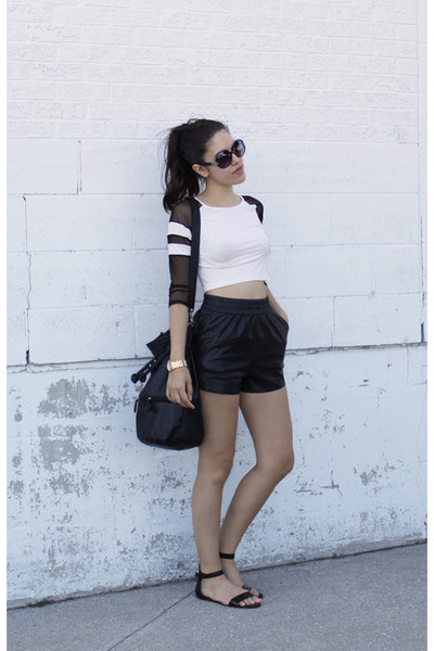 wilfred shorts - jersey mesh Topshop top - basic H&M sandals