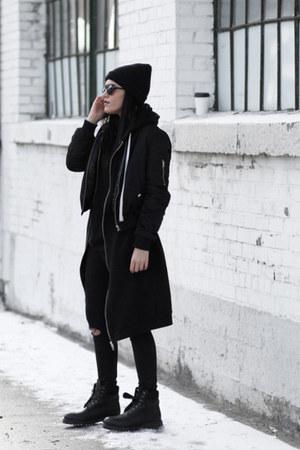 black Timberland boots - black bomber romwe jacket