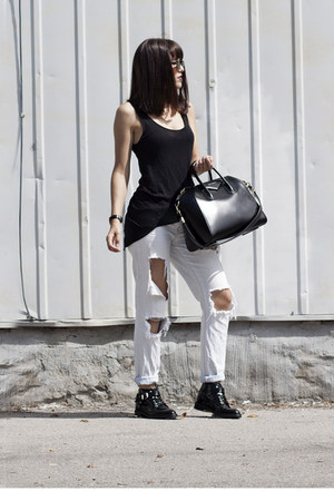 buckle le chateau boots - ripped Forever 21 jeans - antigona Givenchy bag