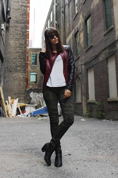 danier jacket - Express boots - Zara t-shirt