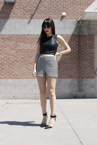 leather look Zara top - chevron Costa Blanca shorts - Alexander Wang heels