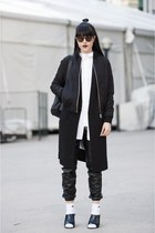 bomber Topshop jacket - faux leather Forever 21 pants - collar Represent top