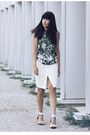 palm print Forever 21 top - Forever 21 skirt - le chateau sandals