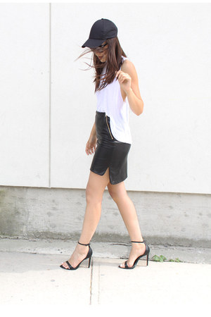 H&M hat - Costa Blanca top - leather danier skirt - basic Zara sandals