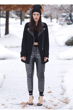 foil Topshop pants - biker le chateau coat - liya Alexander Wang heels