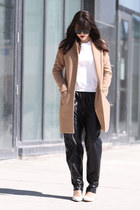 camel Theory coat - white Aldo heels - faux leather Front Row Shop pants