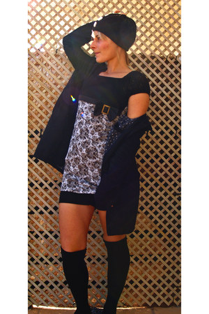 black the butterfly fx dress - black H&M coat