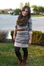 Tawny-brass-plum-boots-heather-gray-sweater-rubbish-dress-black-tights