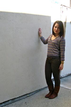 crimson striped Tiny shirt - tawny brass plum boots