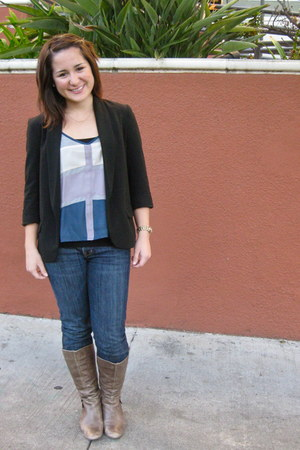 blue blouse - light brown Cathy Jean boots - navy citizens of humanity jeans