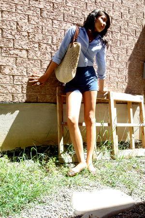 blue Gap blouse - American Eagle shoes - American Apparel shorts - H&M bag