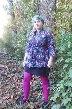 green Aldo hat - black jacket - black Old Navy skirt - pink tights - black Aldo