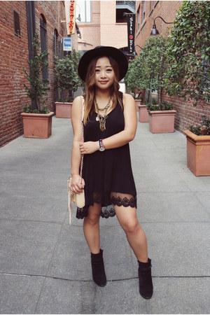 black suede Ivanka Trump boots - black cotton lace Chloe K dress