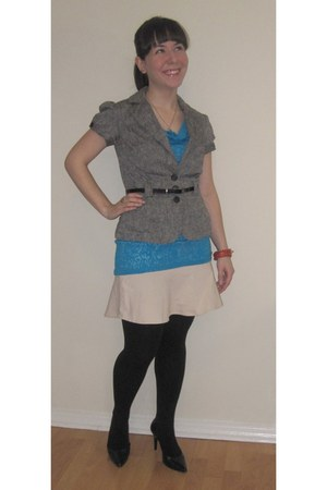 periwinkle Smart Set blazer - black Aldo heels - turquoise blue Smart Set top -