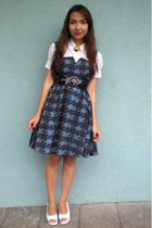 white KOB shirt - blue Ebay dress - black vintage accessories - white shoebox sh