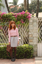 silver Mango skirt - red shirt - brown Parisian bag - black flats