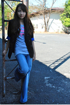 gray Topshop t-shirt - blue Topshop jeans - black Topshop blazer - black random