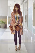 orange kimono thrifted jacket - giordano jeans - brown purse - wedges