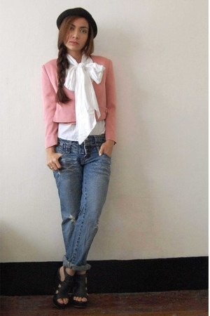 pink Simones Closet blazer - black Parisian shoes - bf jeans